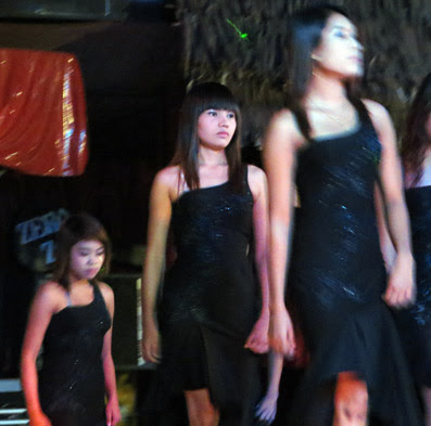 sexy nightclub models in a Yangon restaurant