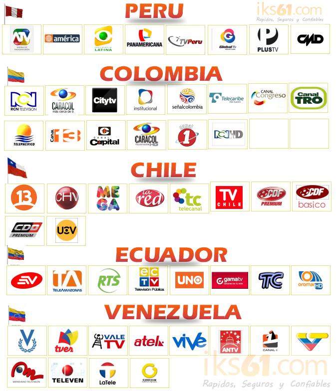 b932a989a3a Lista de canales Nacionales Peru, Colombia, Chile, Ecuador y Venezuela