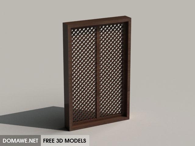 Domawenet Asian Style Wooden Window 3d Model Free Download