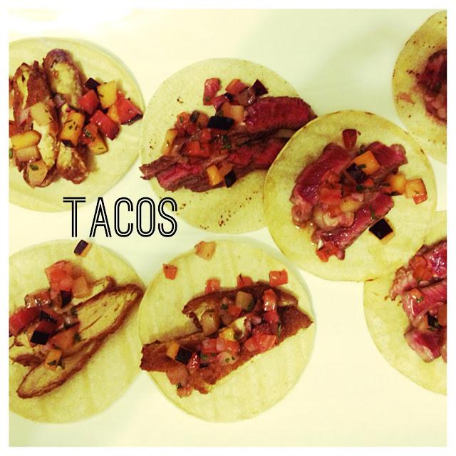 eating fabulously, tacos, fried chicken, rib eye, steak, guacamole, dinner