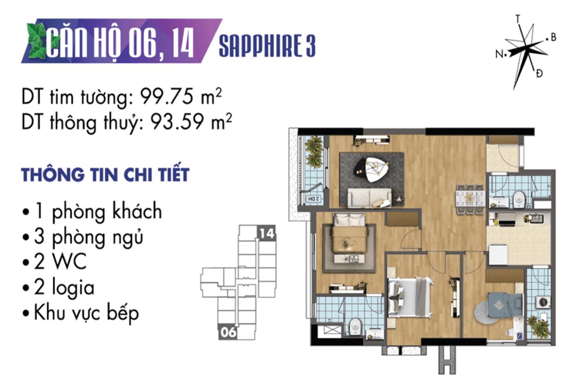Mặt bằng căn hộ 06 và 14 Sapphire 3