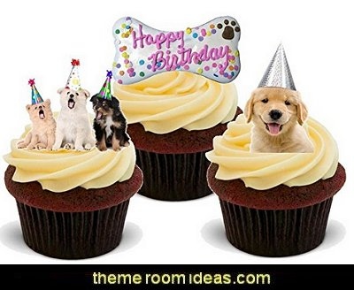 HAPPY BIRTHDAY DOG PUPPY FEMALE MIX - Fun Novelty PREMIUM STAND UP Edible Wafer Paper Cake Toppers Decoration