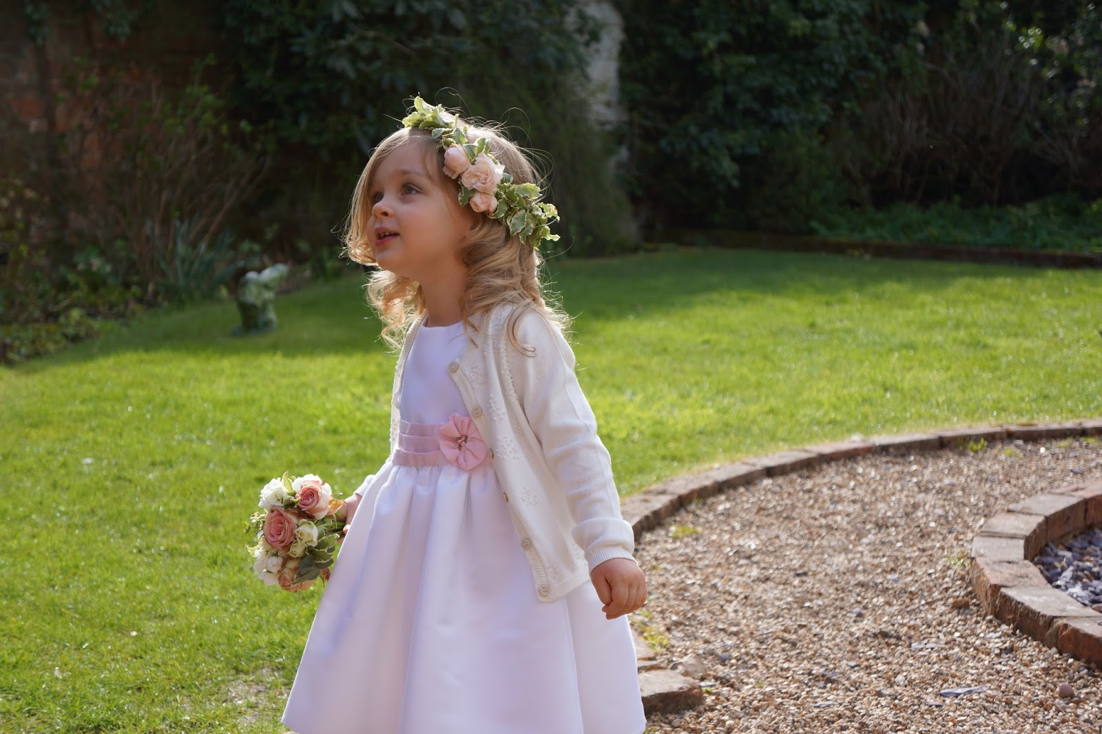 Toddler ootd 39 a flower girl wave to mummy toddler wedding flower girl with antique vintage grecian flower crown izmirmasajfo Gallery