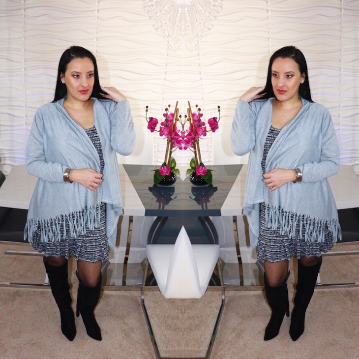 OOTD-Knee-High Boots-Cozy-Dress-Fringe-Cardigan-Cover-Up-Vivi-Brizuela-PinkOrchidMakeup