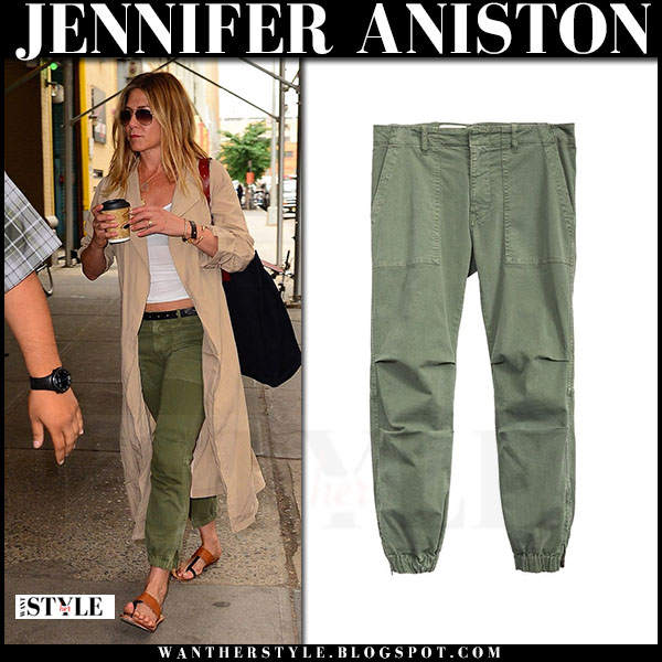 Jennifer Aniston in green military pants nili lotan and beige trench what she wore casual style