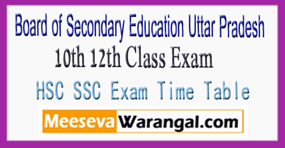 Board of Secondary Education Uttar Pradesh 10th 12th Class Exam Time Table 2018