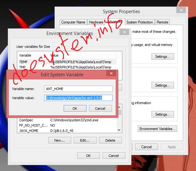 Doesystem: install Apache Ant on Windows