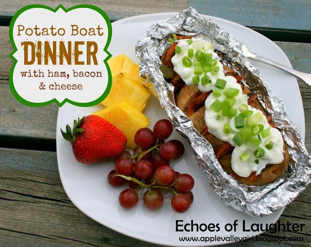 Tin Foil Potato Boat Dinner