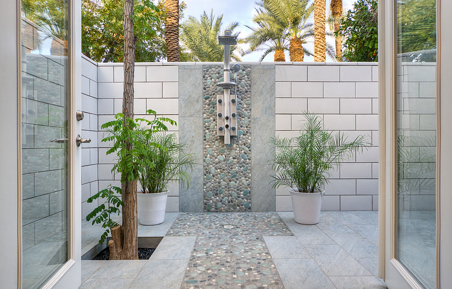 potted-plants-tiled-backyard-shower