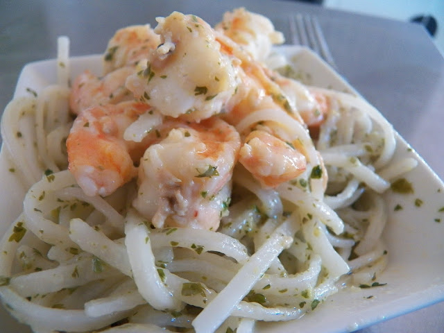 Shrimp Piccata with Rice Noodles