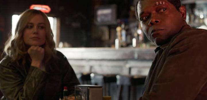 Capitã Marvel e Nick Fury - Cena 2019