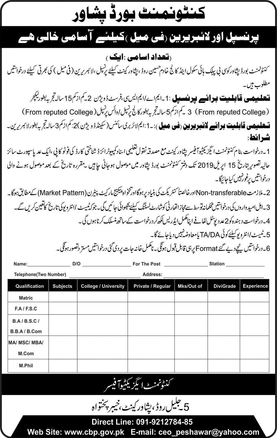 Jobs in Cantonment Board Peshawar April 2019