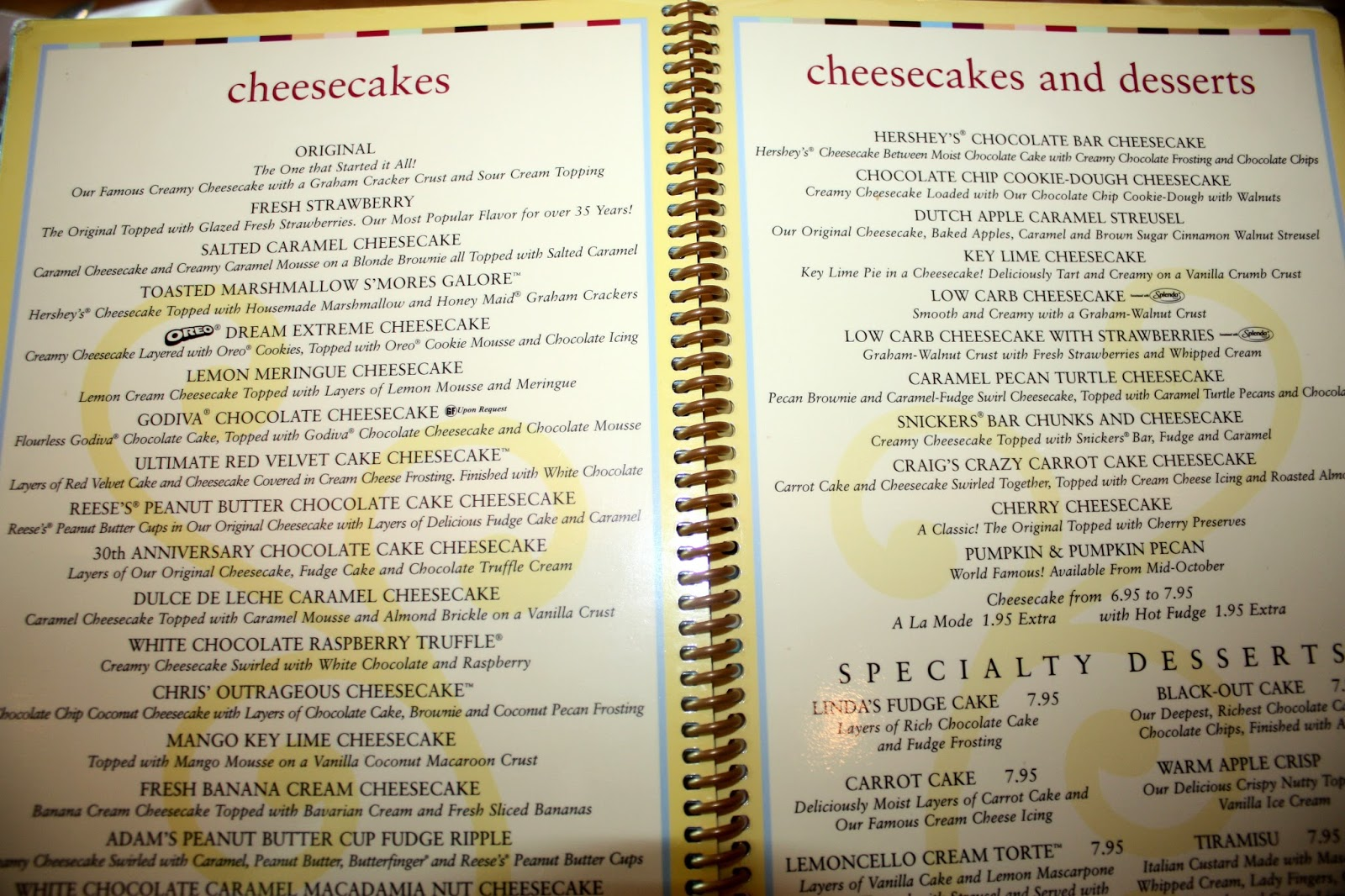 Cheesecake Factory Dubai Cake Menu