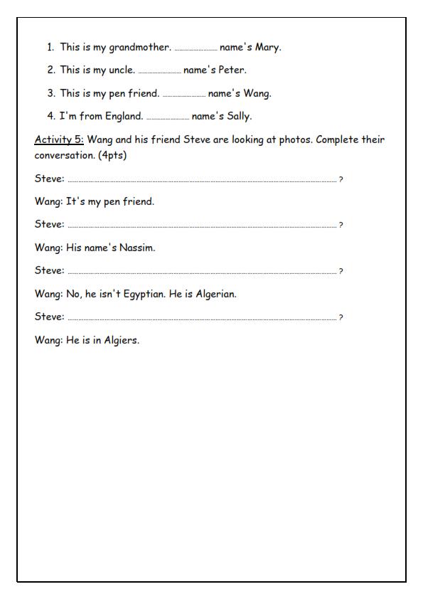 امتحان الانجليزية للسنة الأولى متوسط الفصل الأول