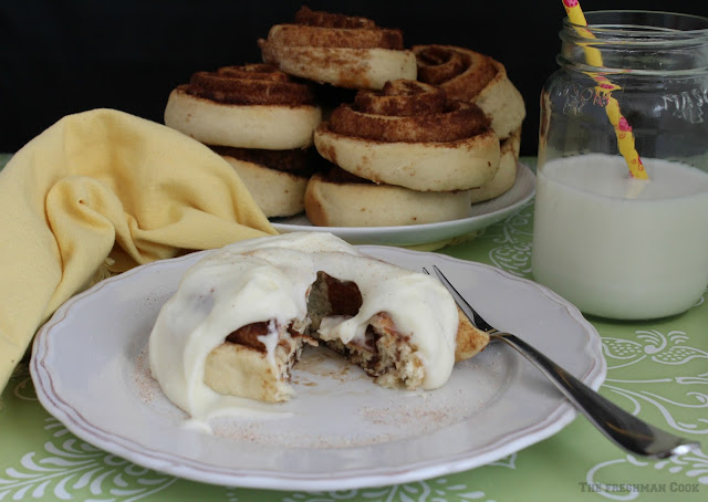 cinnamon rolls, frosting, sugar, cinnamon, milk, breakfast rolls