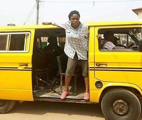 Funny Pic Of #BBNaija Bisola As Bus Conductor In Lagos