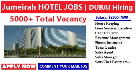 Jumeirah Hotel Job Vacancies In Dubai Apply Now All Gulf Vacancy