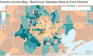Houston Income Map with Red Cross, Salvation Army & Food Pantries
