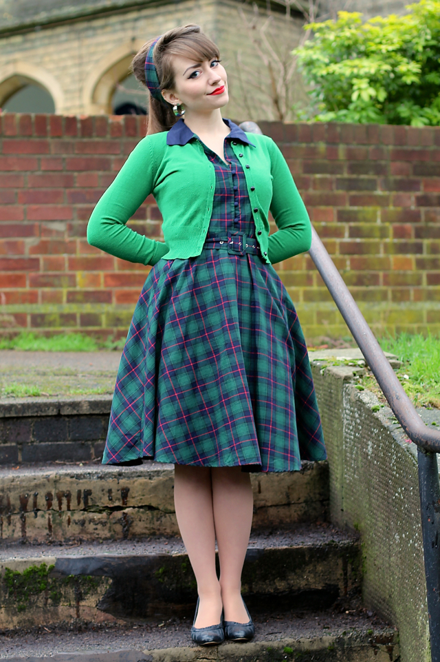 Dolly & Dotty Poppy dress in green checkered