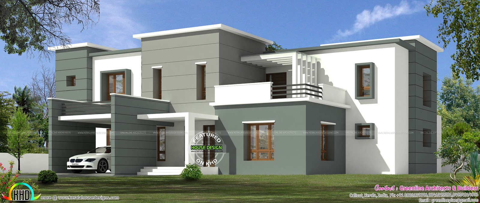 Modern box model 3289 sq ft kerala home design and floor for Modern box house design
