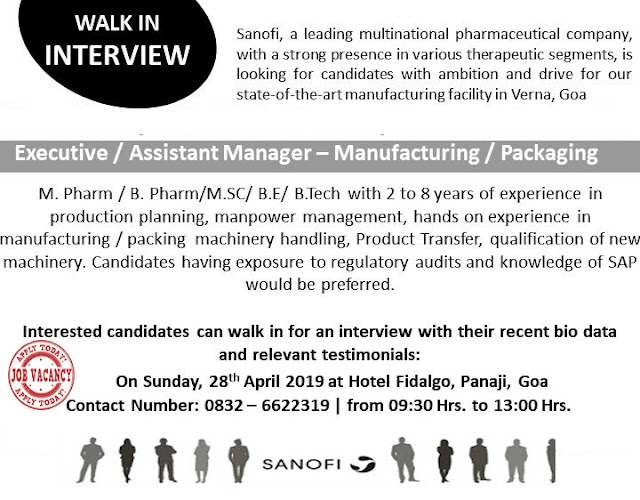 Sanofi - Walk-In Interviews for Executive / Asst Manager - Manufacturing / Packing on 28th Apr' 2019