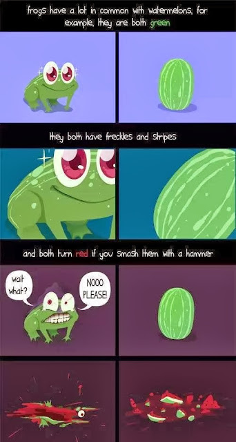 common things between frog and watermelons