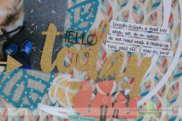 Hello Today Scrapbook Page by Juliana Michaels featuring 17turtles Make A Wreath Free Digital Cut File and Pink Paislee Cedar Lane