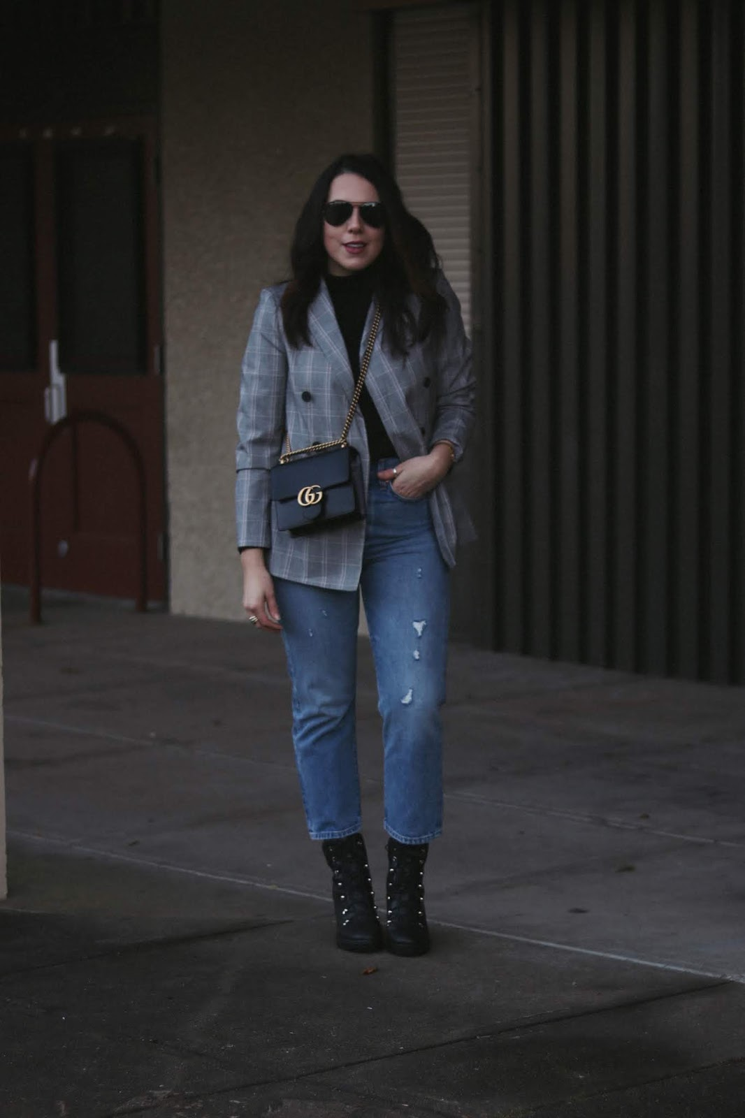 plaid blazer outfit le chateau vancouver fashion blogger aleesha harris