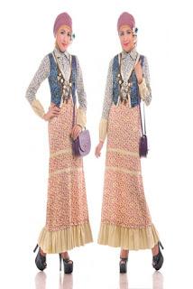 Gamis Batik Kombinasi Sifon Untuk Pesta