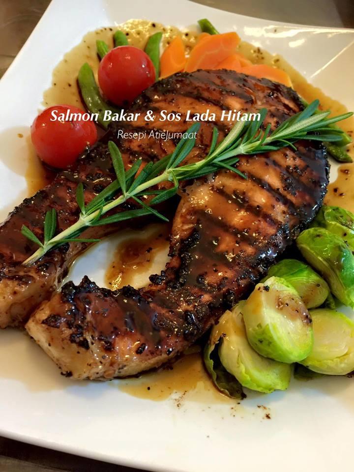 Masakan Ikan Salmon : masakan, salmon, RESEPI, SALMON, BAKAR, HITAM, Papaglamz.com