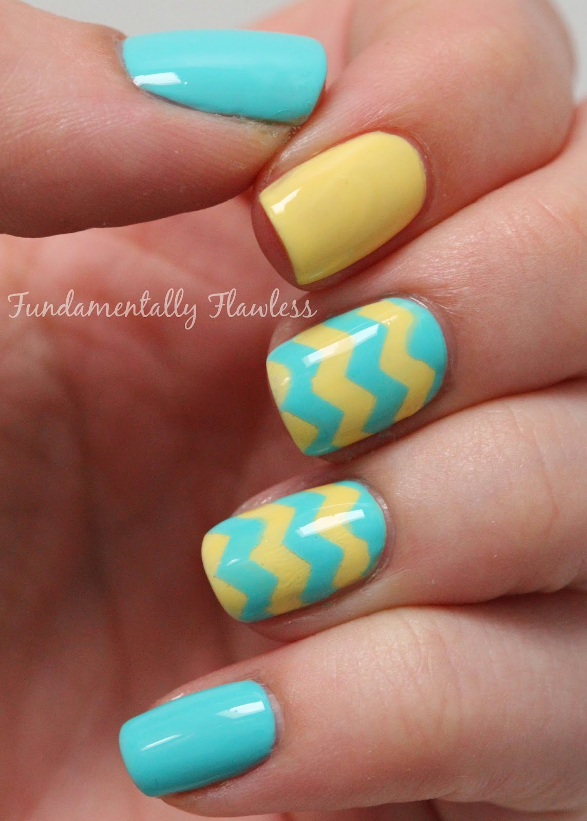 These Colours Work Well Together For Nail Art So I Did A Very Quick Chevron Mani