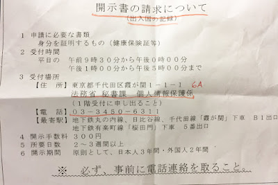Instructions for requesting personal information, or kaiji seikyu, from the Ministry of Justice, Japan.
