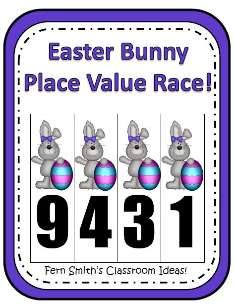Fern Smith's Place Value Race Game Easter Bunnies