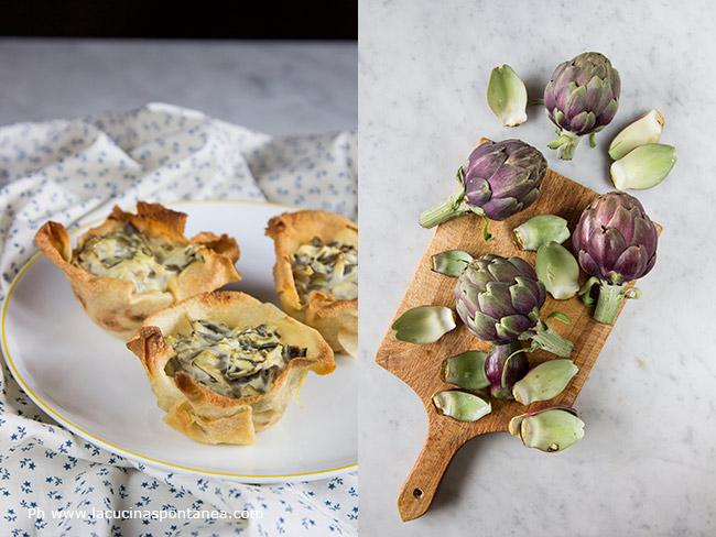 Foto con ingredienti e cestini di pane carasau, carciofi e zafferano