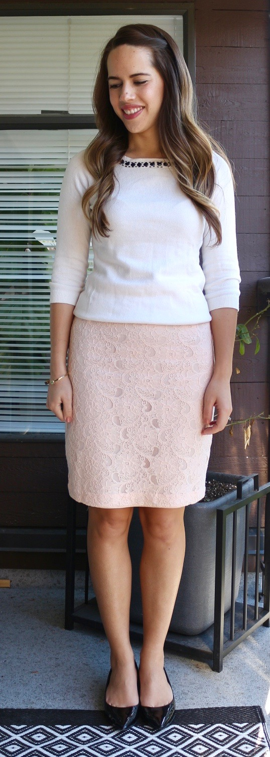Jules in Flats - Blush Pink Lace Pencil Skirt