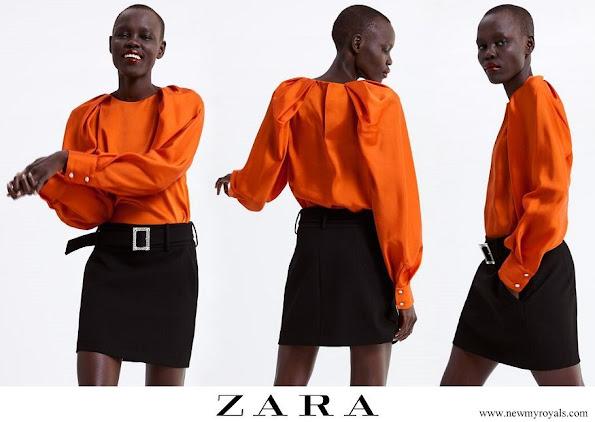 Queen Letizia wore Zara blouse with voluminous sleeves