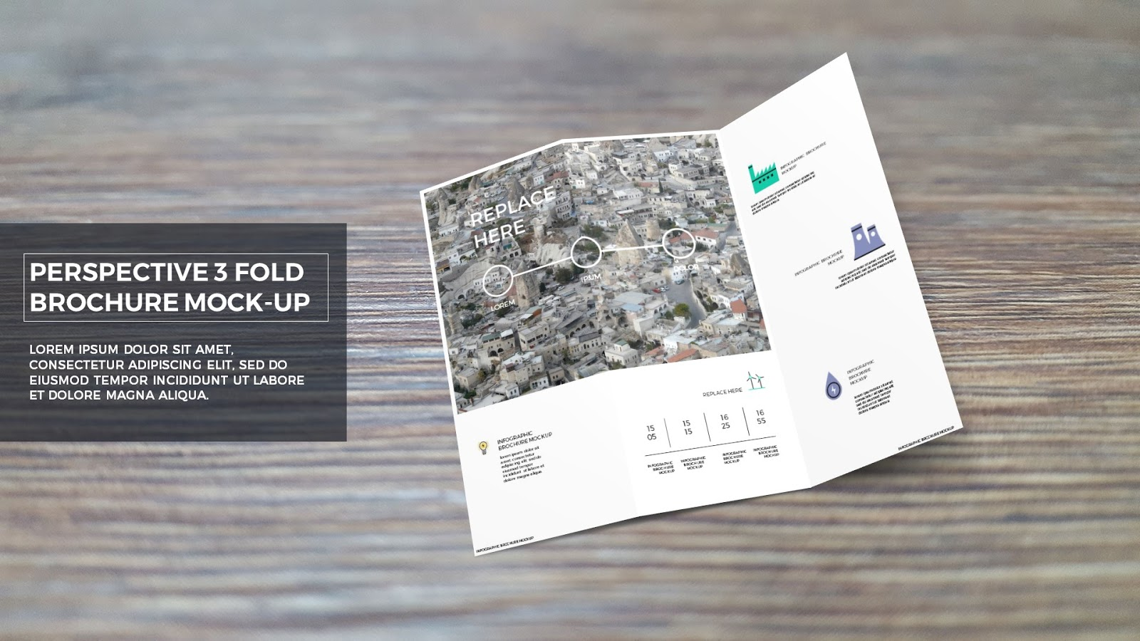 Free Powerpoint Template With Trifold Brochure Mockup