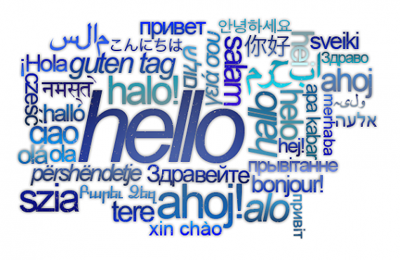 """hello"" word cloud in multiple languages"
