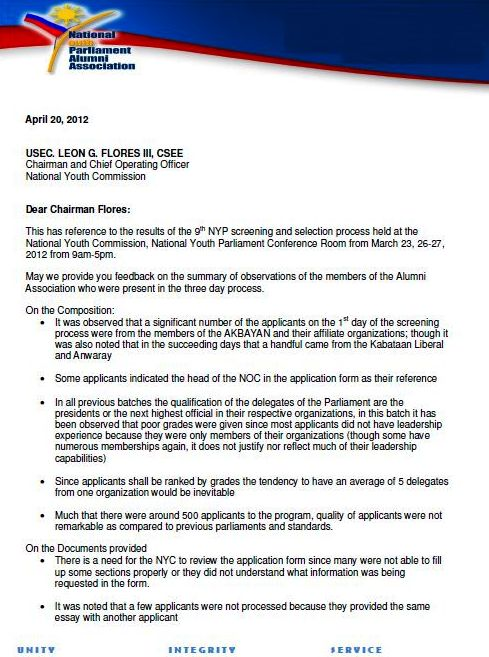 AlvinDakis com: NYP Alumni Association's official letter to