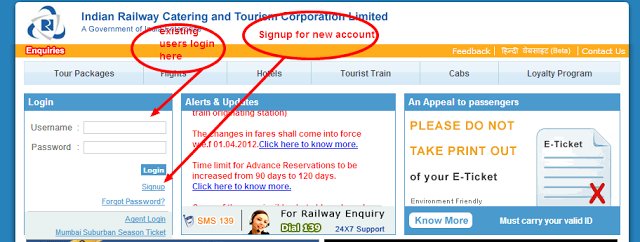 IRCTC Login registration