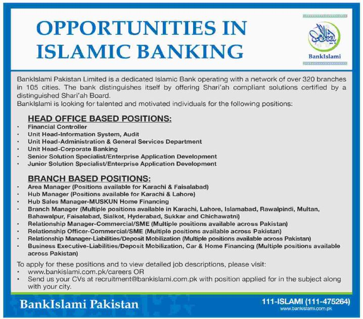 Bank Islami Pakistan Jobs 2017 For Branch Manager, Relationship Officers/ Managers, Business Executives U0026 Others Apply Online 2017  Branch Manager Job Description