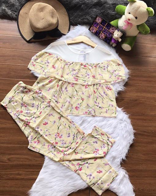 Set nguyên bộ áo tay bèo và quần lửng đẹp