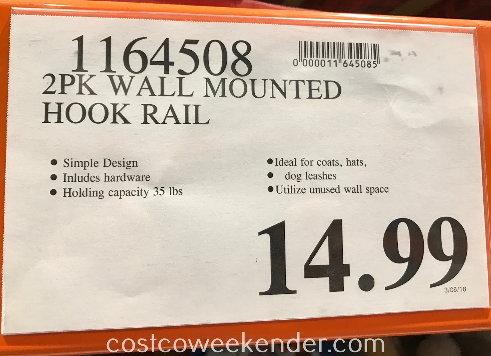 Deal for a 2 pack of Birdrock Home Wall Mounted Hook Rails at Costco