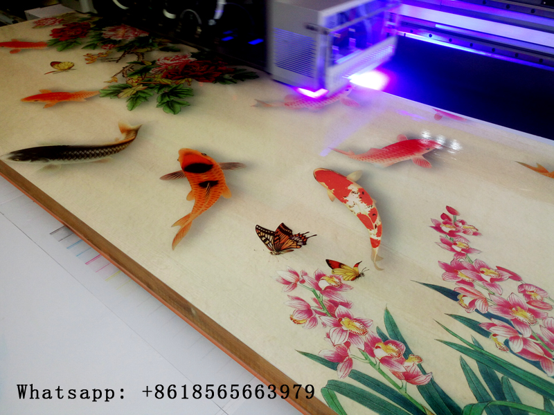 DACEN UV Flatbed Printer Installed With Toshiba Printhead Can Print On Wood Door Color White Varnish At The Same Time