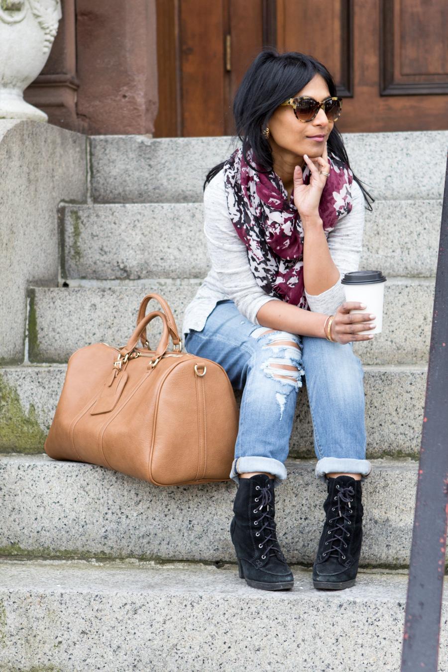 long cardigan, grey cardigan, tank top, rolled jeans, weekender bag, weekend luggage