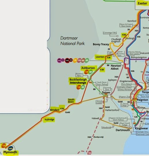 Exeter Bus Map Great British Bus Routes.com: X38: Exeter   Plymouth Exeter Bus Map