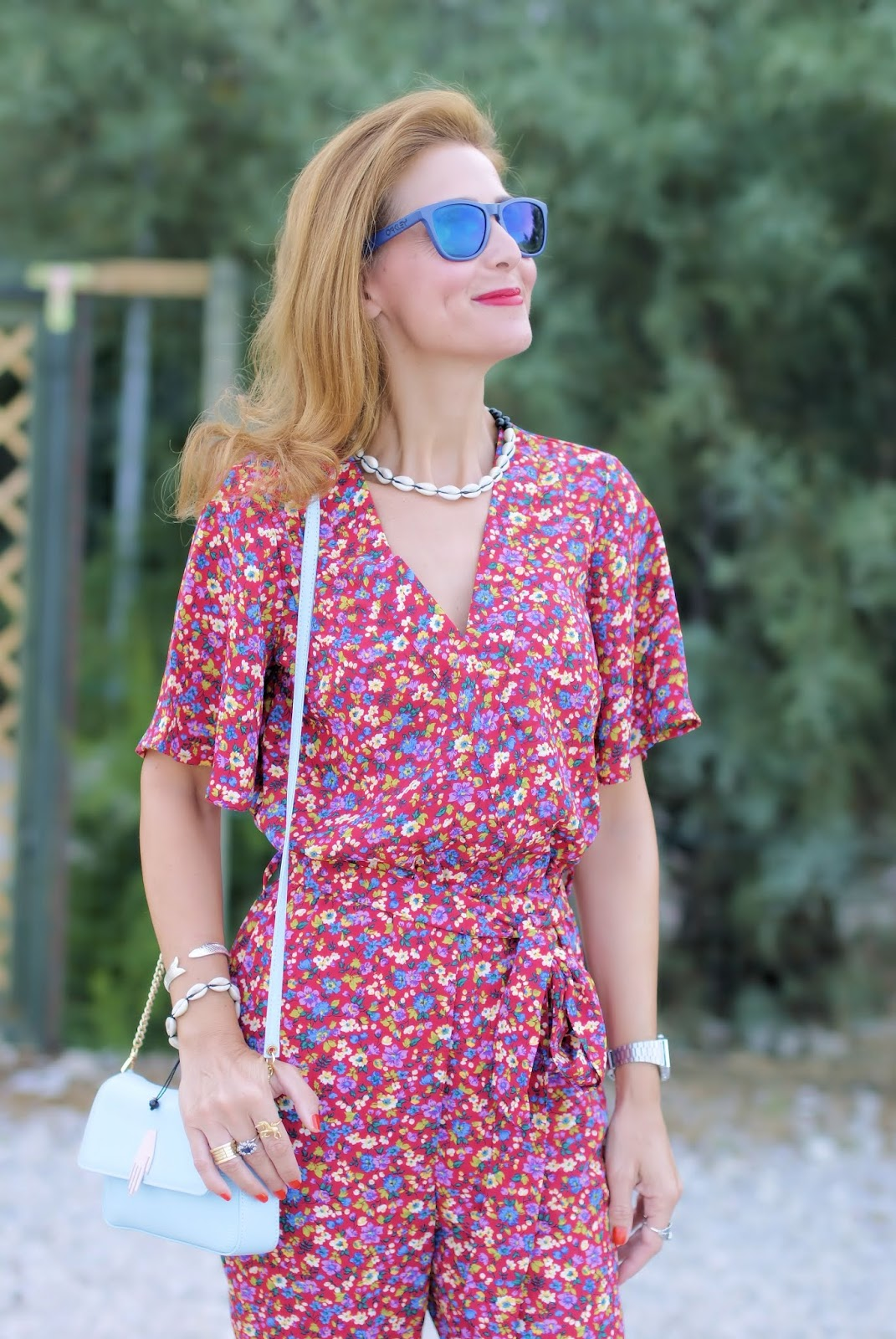 Red Bik Bok Floral jumpsuit on Fashion and Cookies fashion blog, fashion blogger style