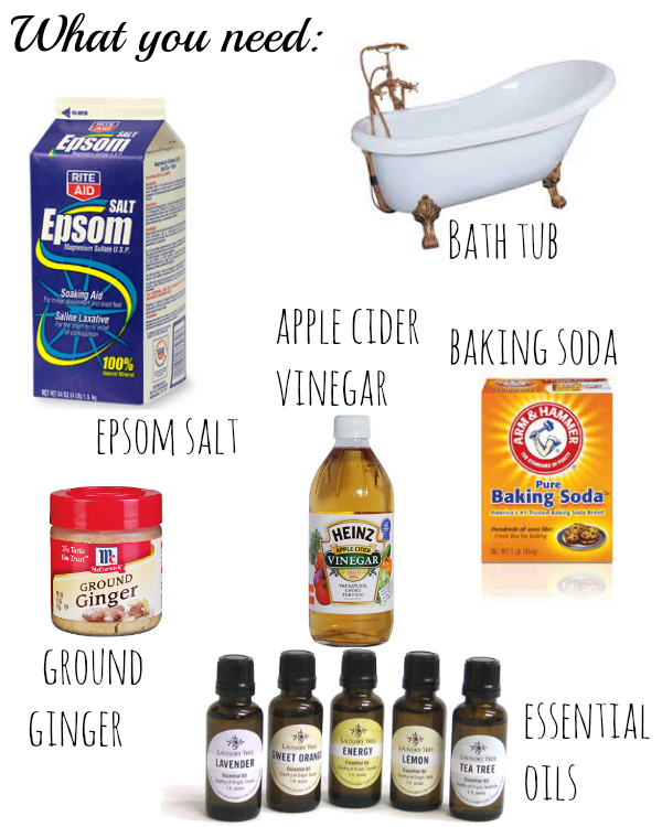 ingredients used in a detox bath, home ingredients for a relaxing bath, diy at home
