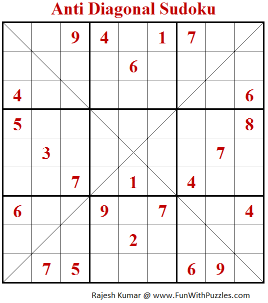 Anti Diagonal Sudoku Puzzle (Fun With Sudoku #246)