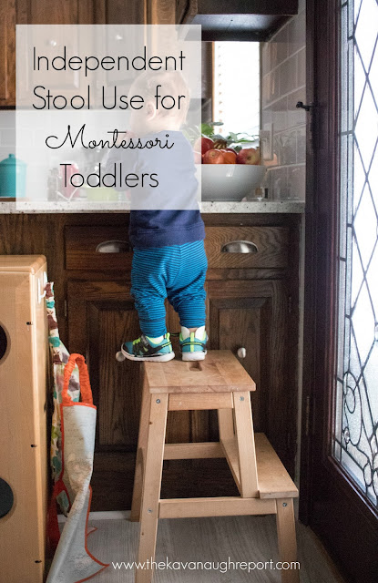 Independent stool use in our Montessori home - tips for using a stool with toddlers